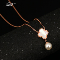 Imitation Pearl Acrylic Flower Charms Necklaces Pendants 18K Rose Gold Plated Fashion Jewelry For Women Colares