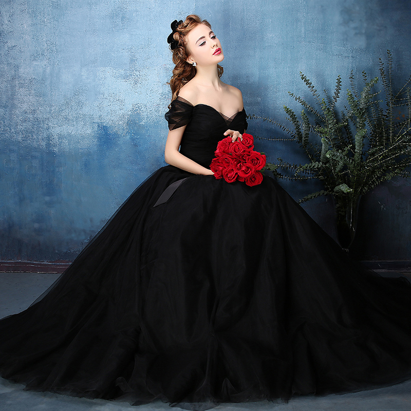 Black Wedding Gowns: Aliexpress.com : Buy Vintage Off The Shoulder Black