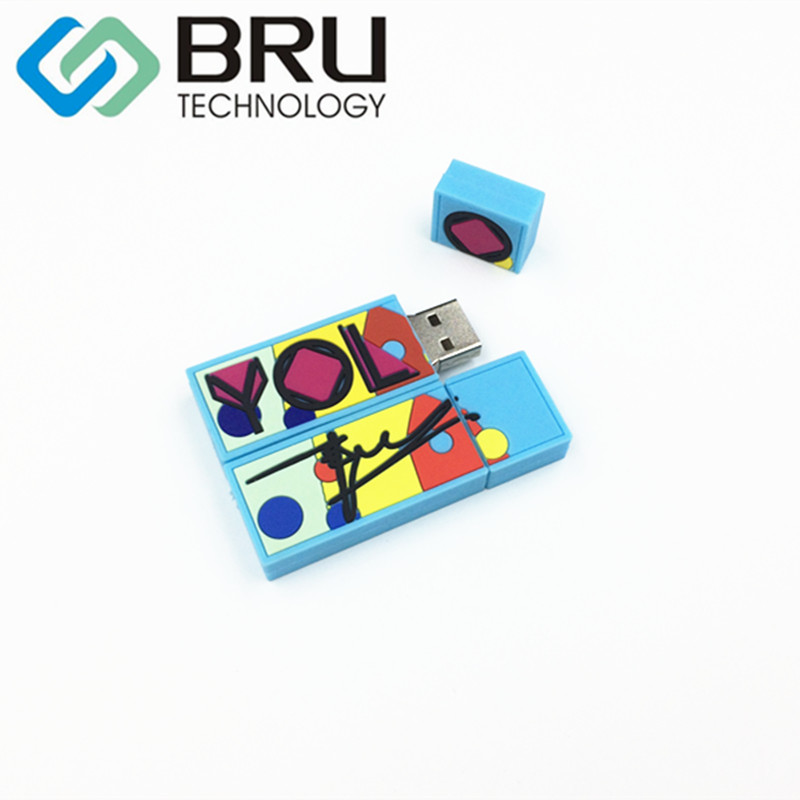 BRU 32GB64GB128GB USB Flash Drive Gift Customization PVC Silicone Pendrive Rubber OEM Memory Stick Open Mould Cartoon LOGO