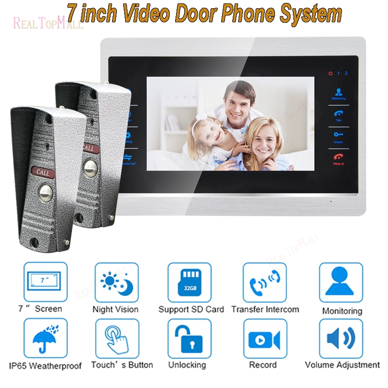 7 Inch Doorbell Camera Video Door Phone Monitor Intercom System Kit Night Vision 1200 TVL Recording SD Card Support 2 V1
