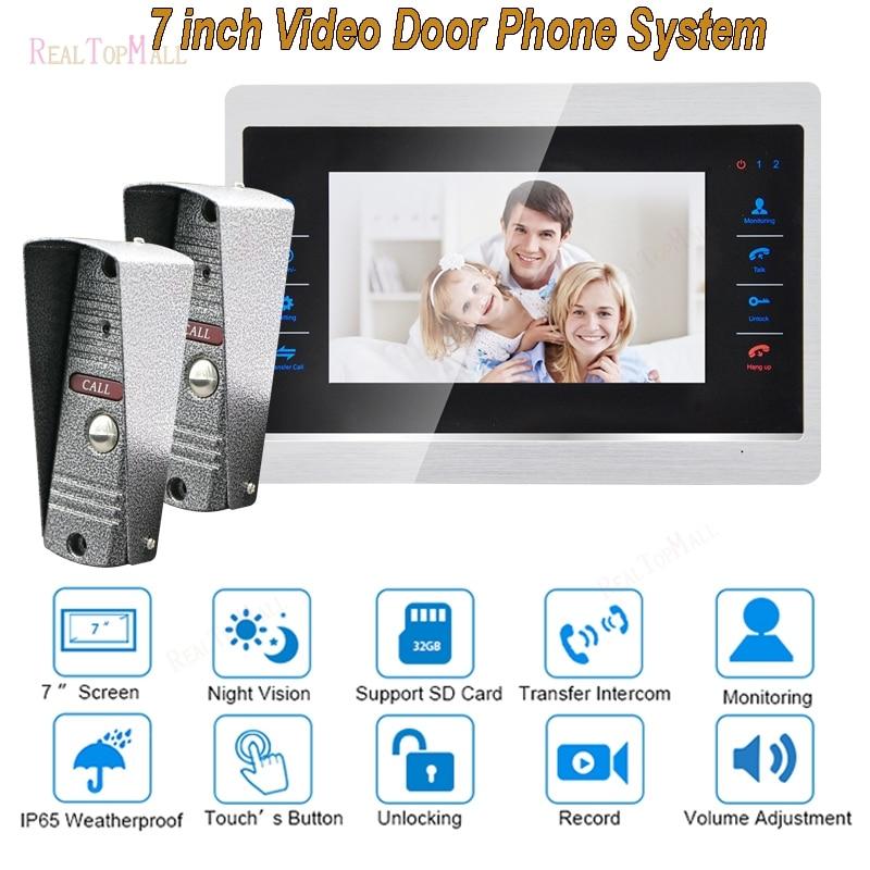 7 Inch Doorbell Camera Video Door Phone Monitor Intercom System Kit Night Vision 1200 TVL Recording SD Card Support 2 V1