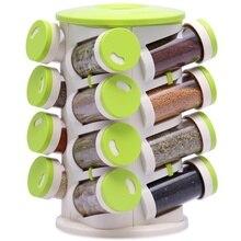BR Rotatable Spice Jar Pepper Shakers Box Seasoning Cans Salt Cruet Bottle Kitchen Rack Organizer Set Cutlery Holder 16+1