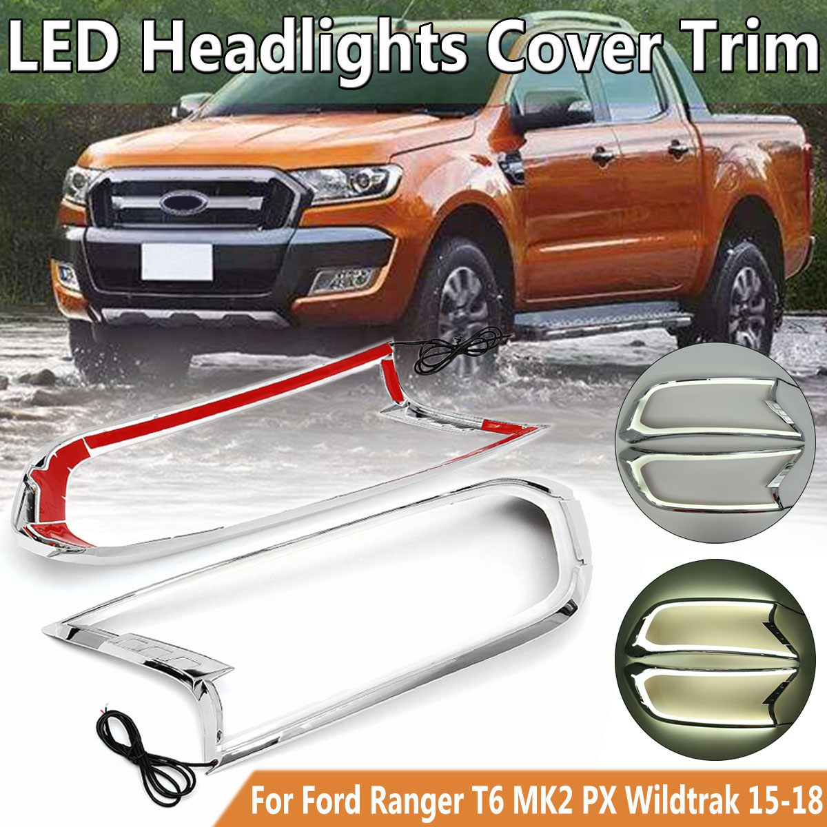 Led Phare Avant Couvercle De La Lampe Garniture Pour Ford Ranger T6 MK2 PX Wildtrak 2015-2018 ABS Lampe Cagoules Tête boîtier de lumière Auto Pièces