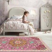 Fashion Nordic Russian style Pink flower Girl princess room carpet Short velvet bedroom living mat non-slip rug customize