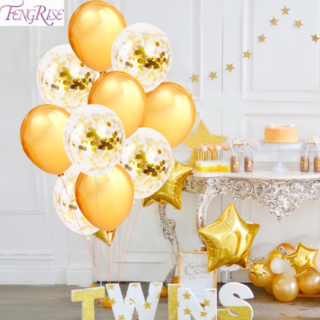 FENGRISE 12 Inch Champagne Balloon Gold Rose Confetti Balloons Wedding Decoration Happy Birthday Event Party Supplies
