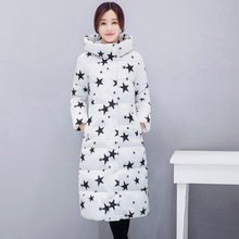 Fashion Winter Cotton Padded Jacket Down Coat Women Slim Stars Print Female Parka Warm Thick Long
