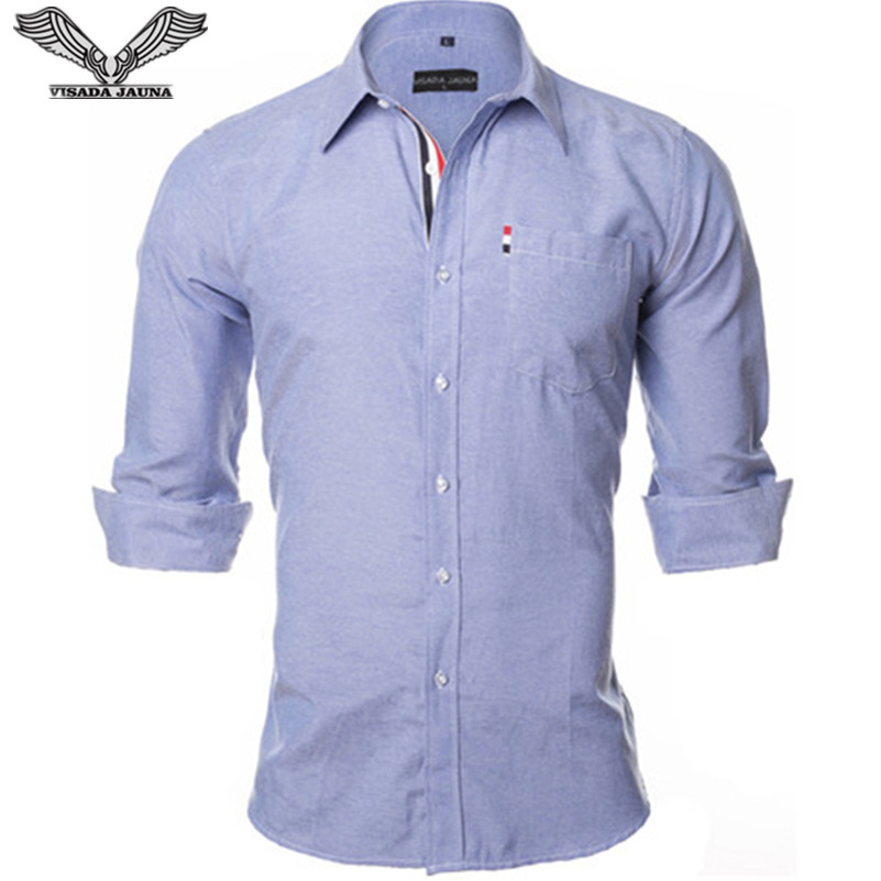 VISADA JAUNA US Europe XXL 2018 Men Shirt Solid Color Design Cotton Casual Business Male Brand Clothing Chemise Homme Blue Dress