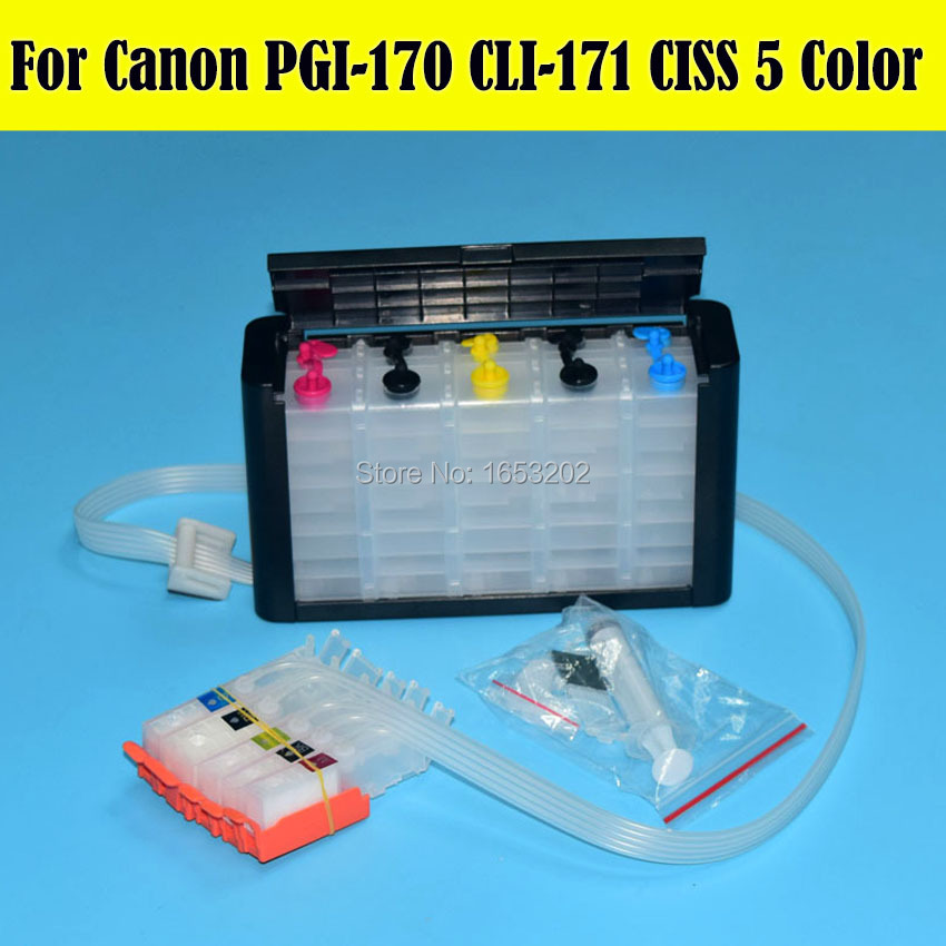 ФОТО 1 Set 170 171 Ciss System For Canon PGI170 CLI171 Ciss For Canon MG6180 MG5710 Printer With Auto Reset Chip