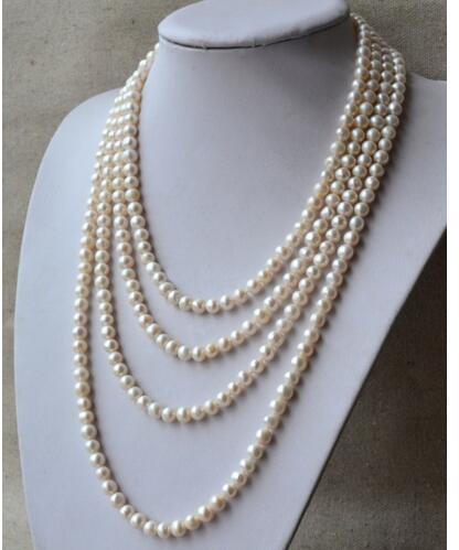 Femmes cadeau eau douce été élégant mignon ivoire 90 pouces 7-8mm collier de perles d'eau douce bijoux de mariage romantique