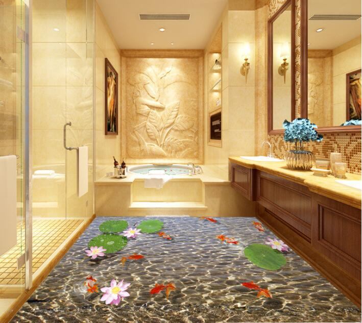 3 d flooring custom waterproof  3 d pvc flooring Pond water lines  3 d bathroom flooring murals photo 3d wall murals wallpaper