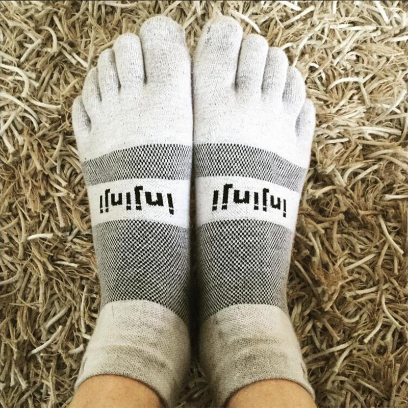 Image 4 - Injinji Five finger Socks Low thin Running Blister prevention Stockings Coolmax Men Quick drying Solid Color Cycling Sports menRunning Socks   -