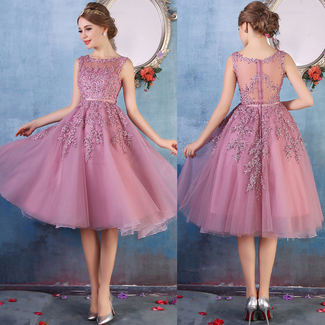 New Arrival Appliques Tulle Illusion Knee Length Purple Prom Dresses ...