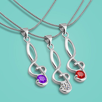 New 925 Sterling Silver Necklace Fashion Note Pendant Design Lady Collarbone Necklace Charm Jewelry Valentine S