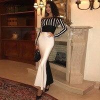 Ocstrade Celebrity Bandage Dress Winter High Quality Women Black And White Mermaid Long Sleeve Bandage Dress
