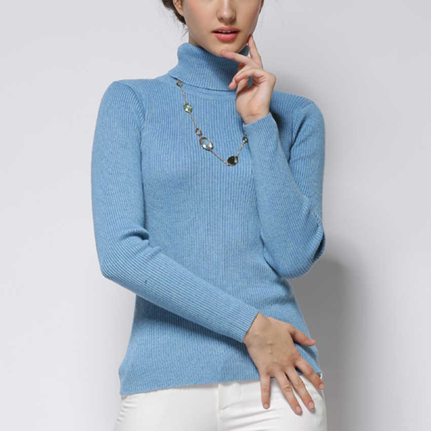 Women Sweater Cashmere blend Knitting Jumpers 28 colors Ladies Pullovers Turtleneck Woolen Knitwear Standard clothes Girls Tops