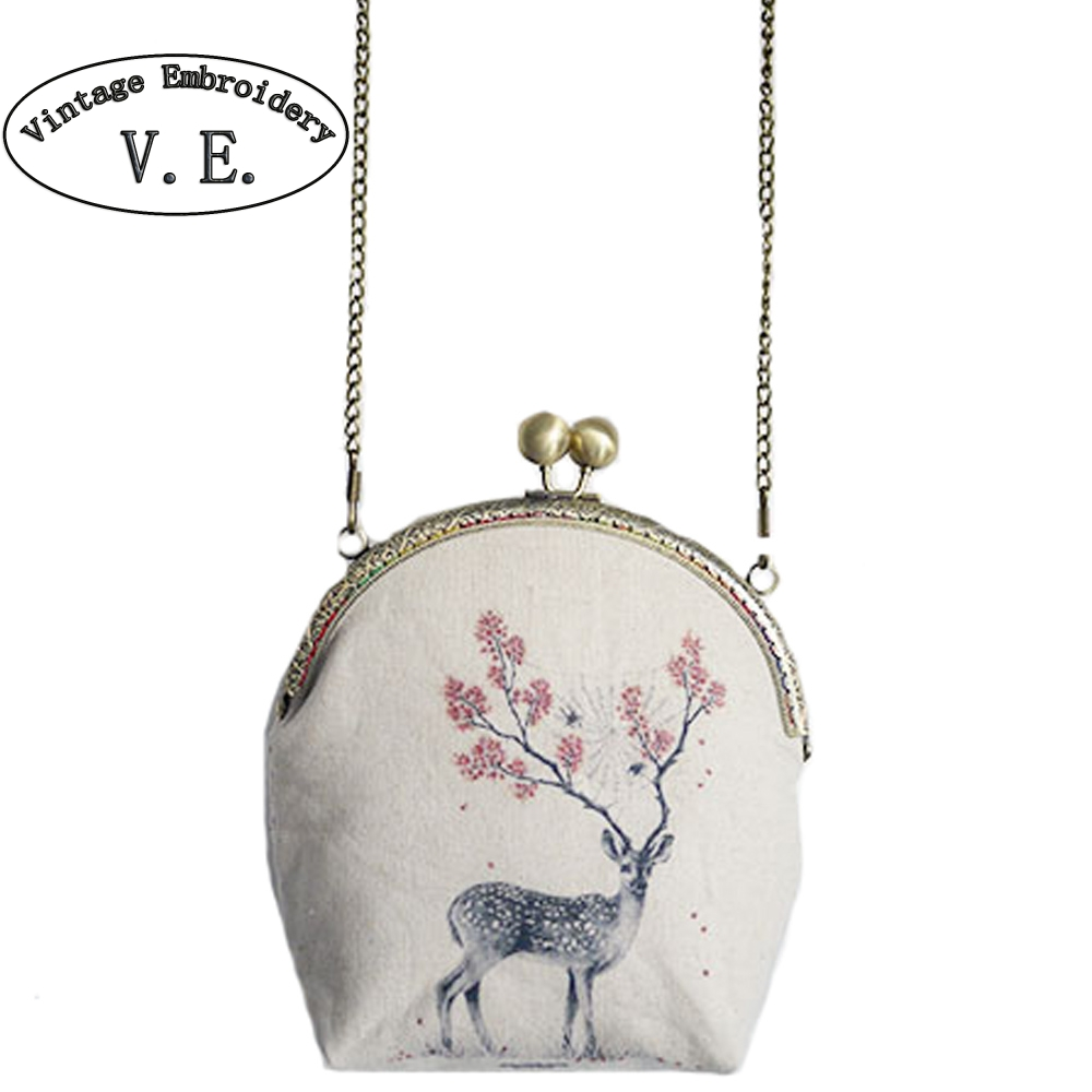 Vintage Embroidery Women Bags Mori Kisslock Clutch Deer Mini Mobile Phone Card Key Shoulder Messenger Bag Crossbody Day Clutch kisslock chain bag
