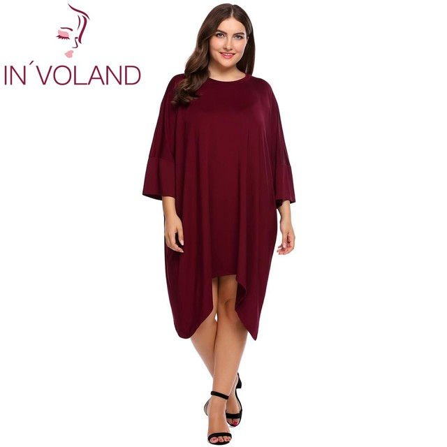 IN VOLAND Women Basic Dress Plus Size XL-4XL Spring Autumn Batwing 3 4  Sleeve Asymmetrical Loose Tunic Dresses Vestidos Big Size 32fa9a442240