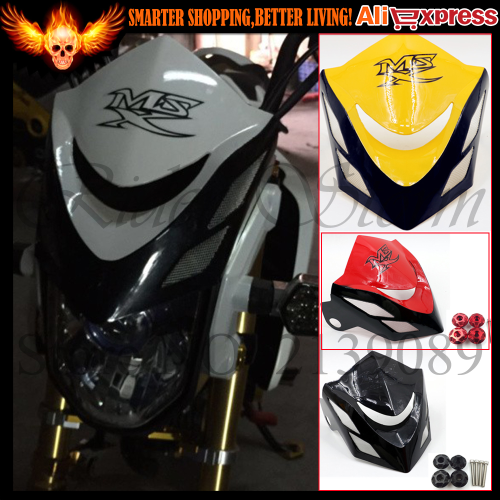 ФОТО Red Black Motorcycle Front headlight Fairing windshield Head Light  Cowl Cover Support For Honda Grom MSX 125 MSX125 2014 2015