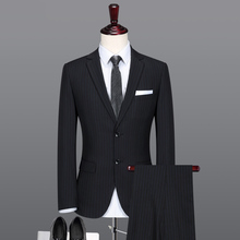 2019 Mens Stripe Formal Suits Men Custom Made Slim Fit Business High Quality 3 Pieces Wedding Tuxedos Costume