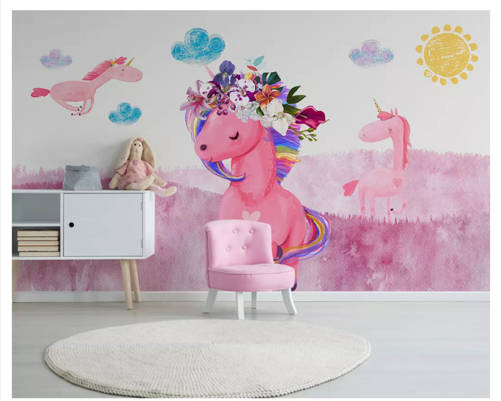 Beibehang Wall Paper Nordic Modern Minimalist Hand-painted Pink Unicorn Children's Room Background Papel De Parede 3d Wallpaper