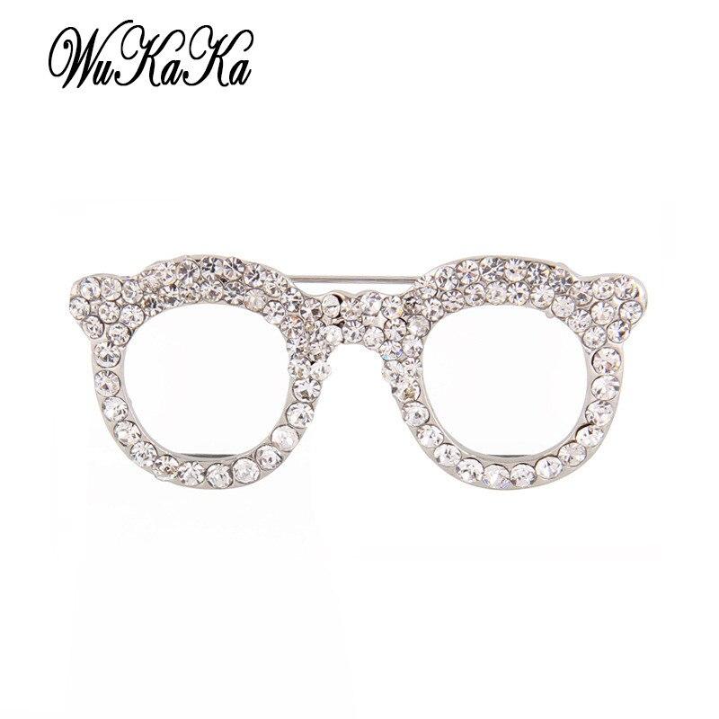 2d5b181a8d77 Wukaka 2018 Crystal Creative Glass Brooches for Girl Woman Fashion Enamel  Pins Sunglasses Brooch