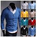 2016 Men's new fall sweater UYUK Korean Slim Men's solid color knit cardigan eight colors Hot