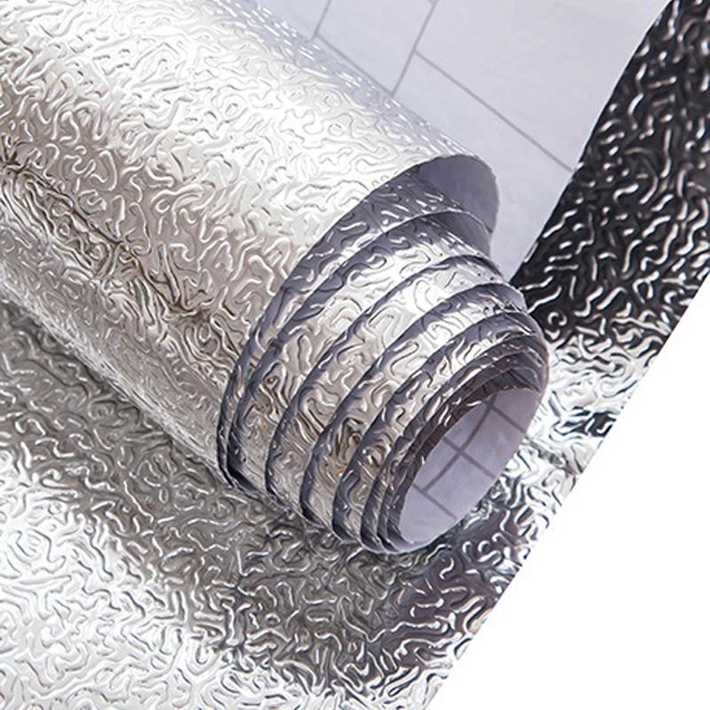 Új érkező konyhai olajálló vízálló matrica alumínium fólia konyhai kályhaszekrény matricák Öntapadós háttérképek WZ065