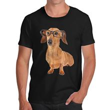 Punk Tops Crew Neck Short  Doxie Dachshund Dog Organic Gift Mens Shirts
