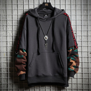 Image 4 - Camouflage Hip Hop Men Hoodie Autumn Cotton Black Male Sweatshirt Tops Soft Grey Hooded Pullovers Harajuku Loose Streetwear Coat