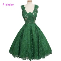 Short Green A Line Lace Cocktail Dresses 2017 Elegant Formal Gowns For Women Party Dresses Robe