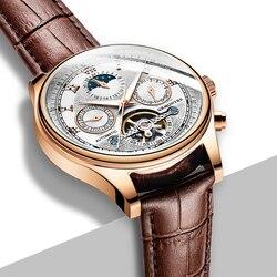 Faza księżyca Top marka męskie zegarki mechaniczne automatyczne Tourbillon szkieletowy zegarek mężczyźni kalendarz Relogio Masculino dropship GRMONTR