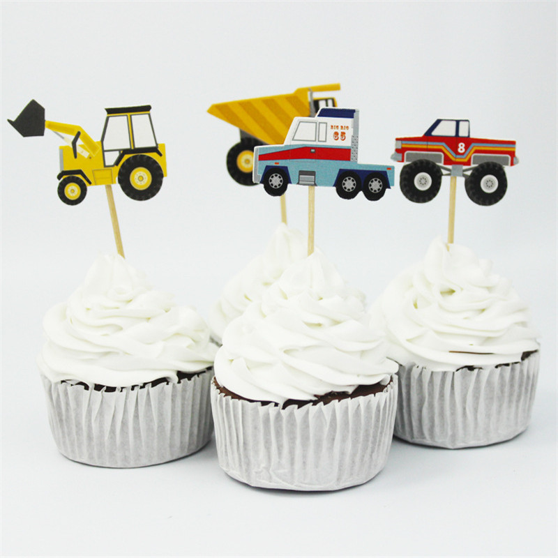 24pac-lot-Construction-Vehicles-Party-Cupcake-Topper-Happy-Birthday-Party-Baby-Shower-Children-Party-Cake-Decor