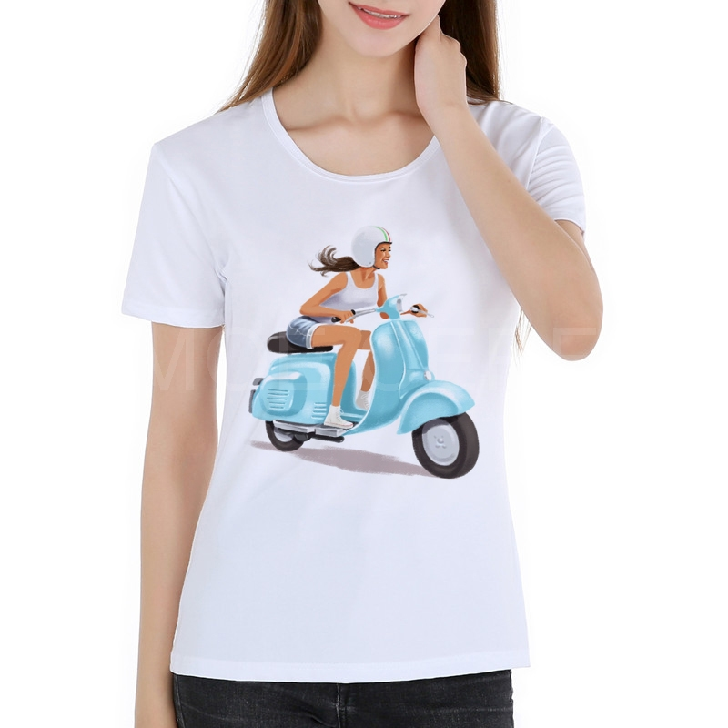 T-Shirt Women Vespa 2019 New Fashion Style Wholesale Motorcycle Tees Graphic White Short Sleeves Kawaii T Shirts K8-9#