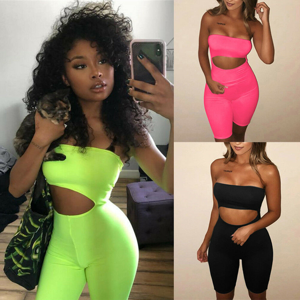 2019 Hot Women Sexy Short Fluorescence Playsuits Short Hollow Out Strapless Female Sexy Skinny Solid Party Rompers Bodysuits