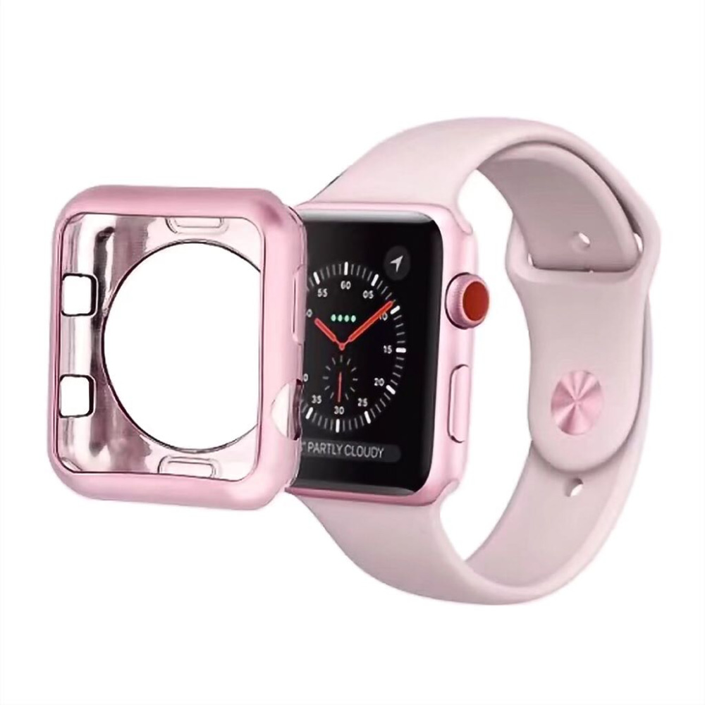 Plating Soft Silicone Case for Apple Watch Series 3 2 1 Cover for iWatch Protective Cover TPU Shell 42mm 38mm Band in Watchbands from Watches