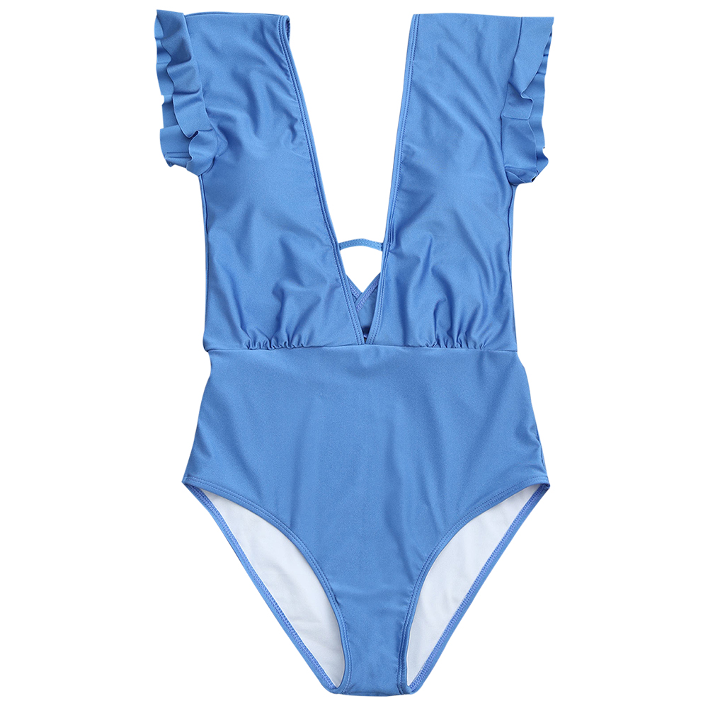 290b34b4e3ce2 Zaful 2017 New Women Frilled One Piece Plunge Swimsuit Sexy High Waist  Plunging Neck Solid Swim Bathing Suit Monokini Swimwear-in Body Suits from  Sports ...