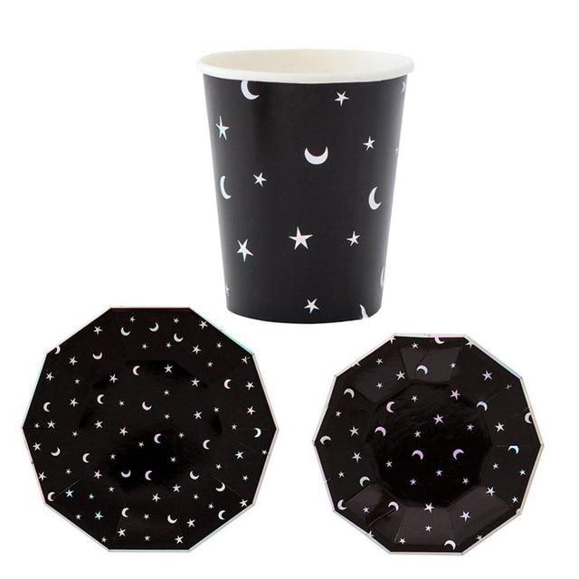 24pcs/lot Black Paper Plates and Cups Moon Stars Dinnerware Set Disposable Decorative Tableware Birthday  sc 1 st  AliExpress.com & 24pcs/lot Black Paper Plates and Cups Moon Stars Dinnerware Set ...