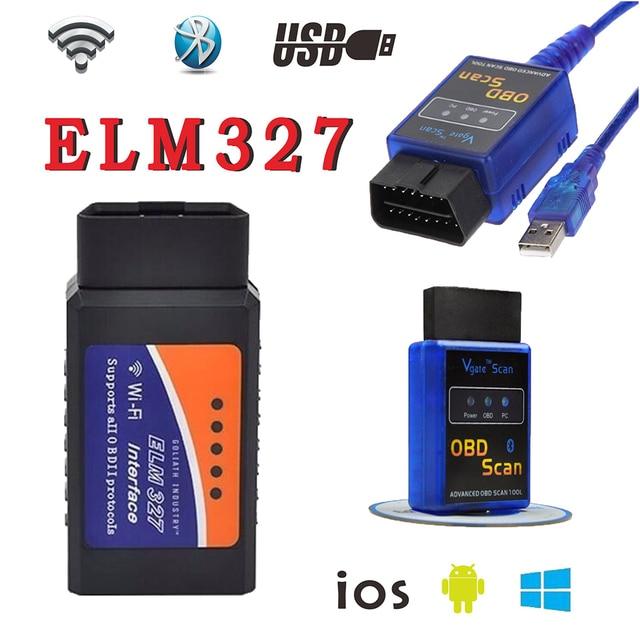 3 шт. ELM 327 WI-FI USB Автомобиля Диагностический Инструмент OBD2 OBD-II ELM327 V1.5 Bluetooth Автомобилей Интерфейс Сканера Работает На Android IOS