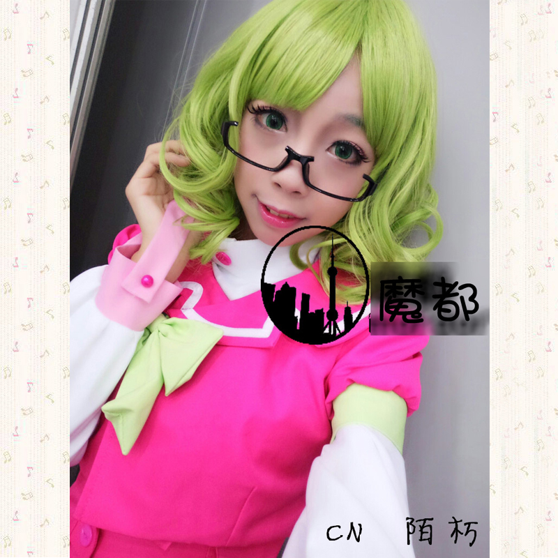 Kanzaki Suzuko Green Curly Wigs Halloween Party Costume Cosplay Full Wigs Synthetic Women's Hair + Wig Cap