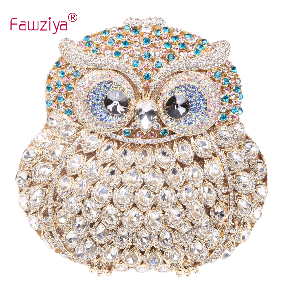 Fawziya Owl Bag Owl Purse With Chain Clutch Evening Bag Crystal Handbag