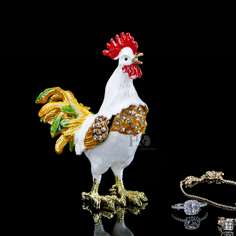 H&D 3.6 '' Cute Jewelry Storage Holder Chicken Eggshell Ring Ականջօղի Oragnizer For Gift Box Metal Metal Trinket Box Wedding Home Decor