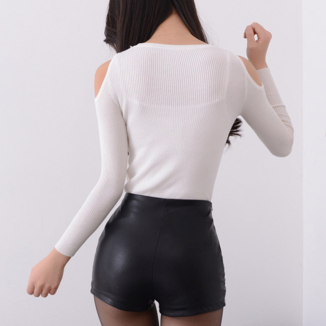 2019 New Fashion Summer Women's Sexy Black Red PU High Waist Shorts Vintage Slim Slit High quality size S-2XL Leather Shorts 2