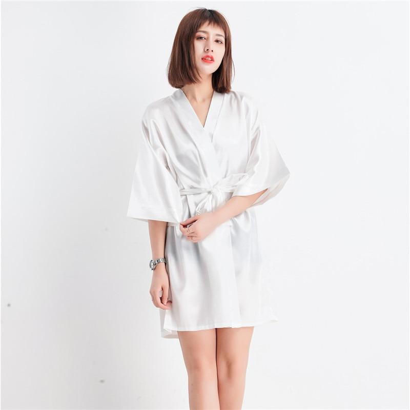 cef75580099 Hot Sale Lady Sexy Mini Robe Short Silk Night Dress Summer Lounge Pajamas  Lingerie Kimono Bathrobe Gown Size M L XL XXL NR107-in Robes from Underwear  ...