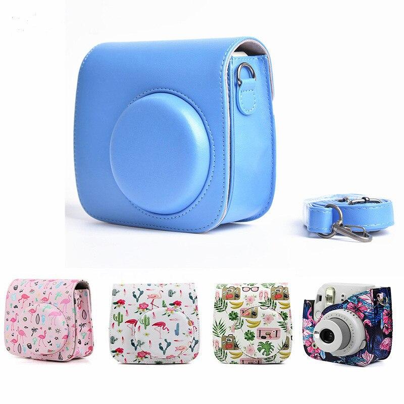 Cámara de cuero correa de hombro bolsa proteger caso para Fujifilm Instax Mini 8 8 + mini 9 casos compacto, pequeño, la cámara