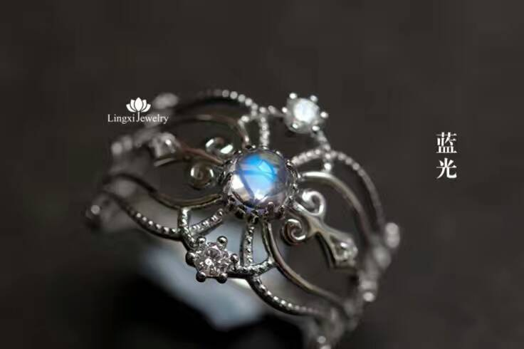 Natural blue moonstone gem Ring Natural gemstone ring 925 sterling silver trendy elegant Crown women girl party fine Jewelry