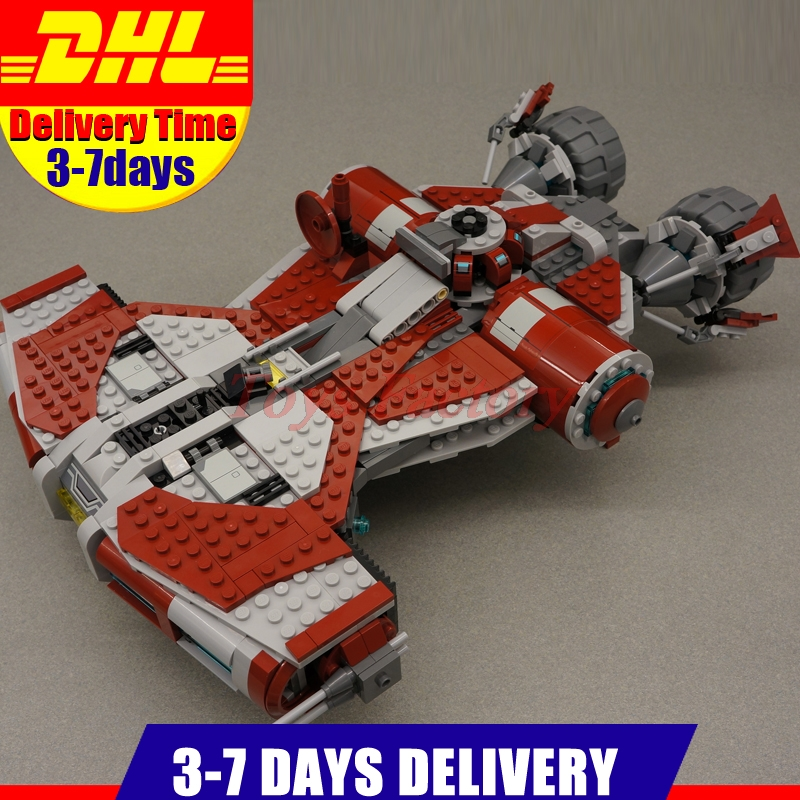 Clone 75025 DHL Lepin 05085  UCS Series The Jedi Defender Class Cruiser Set Model Building Kit  Blocks Bricks Toy Gift 957pcs space wars jedi defender class cruiser universe starship 05085 model building block toy bricks games compatible with lego