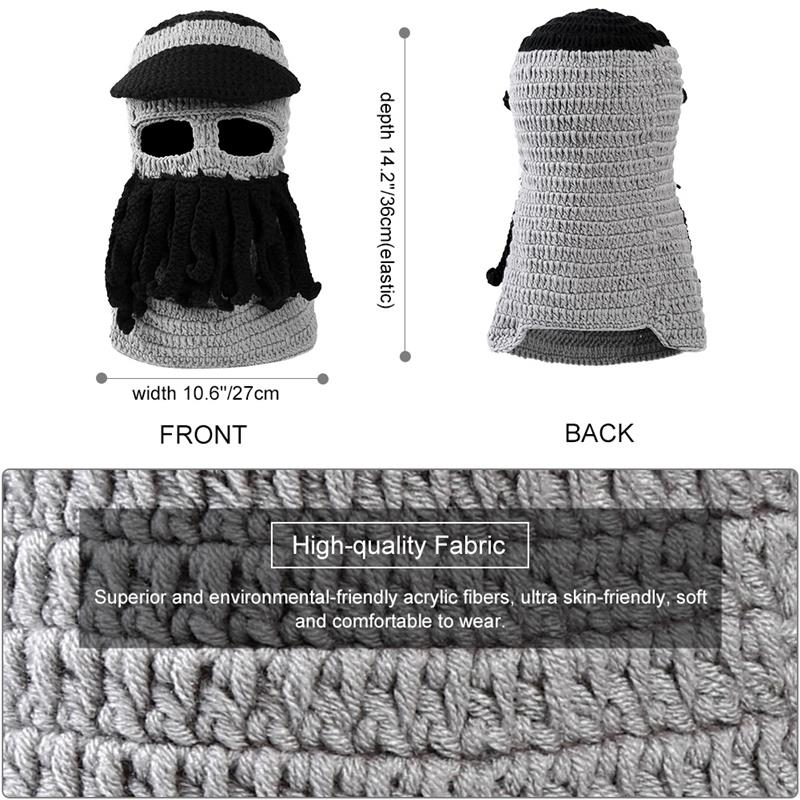 5d151d8b117 VBIGER Warm Hat Funny Octopus Knitted Beard Cap Windproof Winter Ski Face  Mask Soft Beanie Skullies with Brim Tentacles -in Skullies   Beanies from  Apparel ...