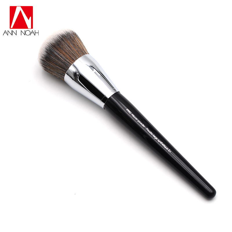 Professional Black Long Wood Handle Synthetic Fiber 61 Large Dome Shaped  Pro Allover Sweep Powder Makeup Brush new arrival make up professional brand luxury classic wood handle wavy hair lightweight no 130 large dome shaped powder brush