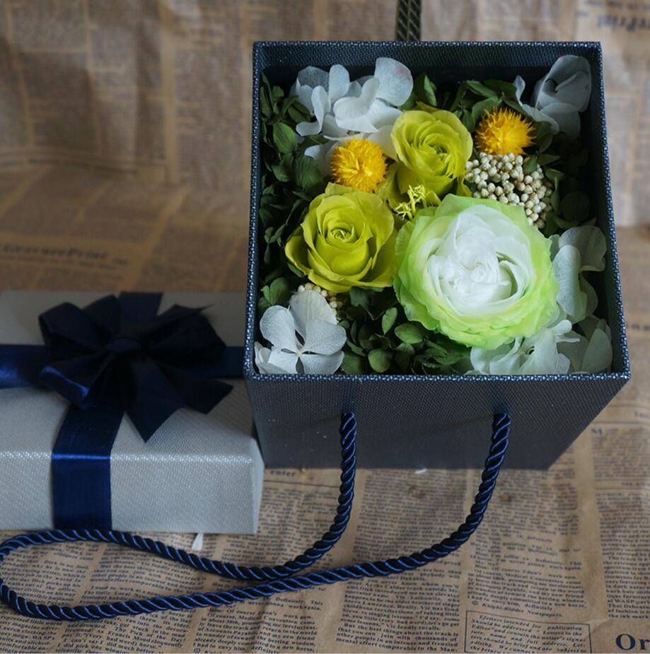 Style vert Rose préservé fleurs fraîches avec boîte de papier 25 cm pour fête de mariage anniversaire saint valentin cadeau faveurs