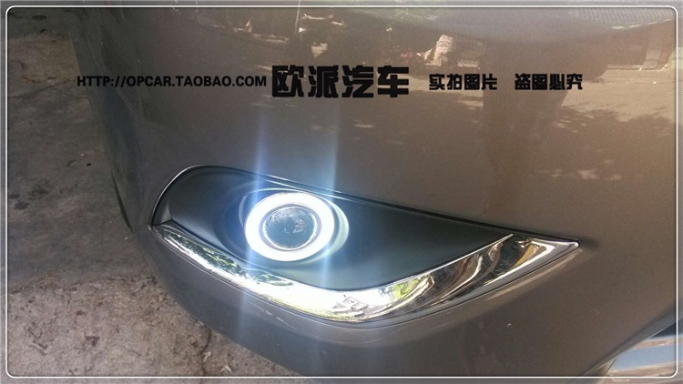 eOsuns COB angel eye led daytime running light DRL + halo Fog lamp + Projector Lens for nissan versa sunny 2014-15 top quality cob angel eye e13 projector lens fog lamp 5 colors led daytime running light for nissan x trail one pair